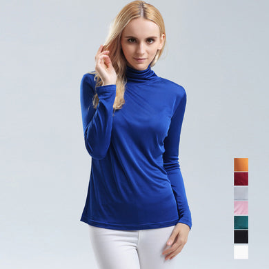 Pure SILK Women Base Knitted Long Sleeve T-Shirt