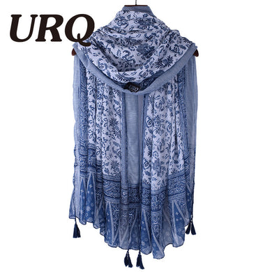 Soft Viscose Scarf with Tassels Floral Print for Women Bohemian Style Summer