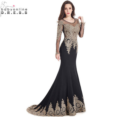 Robe de Soiree Longue Real Kaftan Dubai Black Long Sleeve Mermaid Evening Dress