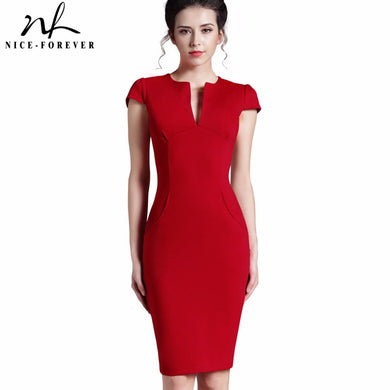 Vintage Summer Solid Deep V neck Formal Stretch Pencil Dress for Women