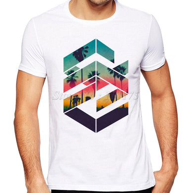 Summer Fashion Geometric Sunset beach Design T Shirt for Men