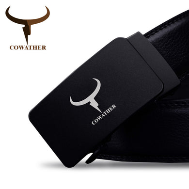 Genuine leather men belts automatic buckle