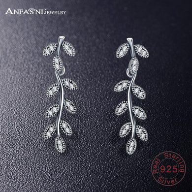 925 Sterling Silver Sparkling Leaves & Branches Earrings Women