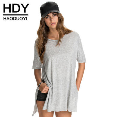 HDY Haoduoyi Summer Fashion Solid Side Split Tops