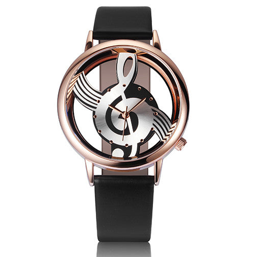 Analog Hollow Musical Note Style leather WristWatch for Women