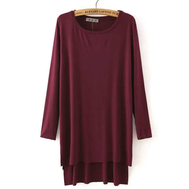 Womens Loose Side Split Long T-Shirt O-Neck
