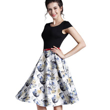 Forever Summer Floral Casual Stylish Print O Neck Sleeveless Zipper Work Office Expansion Dress