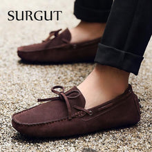 Summer Spring Men Driving Shoes Loafers Real Leather Boat Shoes
