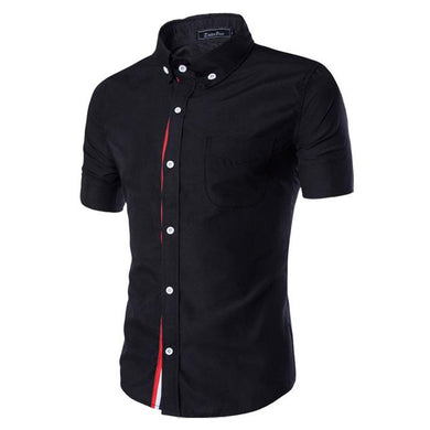 Short Sleeve Casual Slim Fit Black Shirts for Men