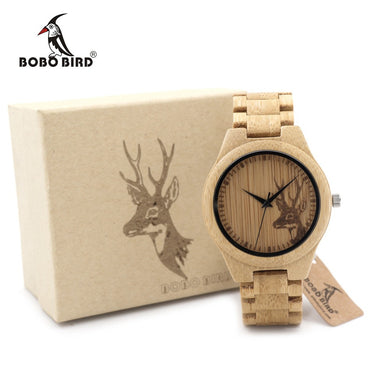 BOBO BIRD Bamboo Wooden Watch for Men - Elk Deer Head Story Designer