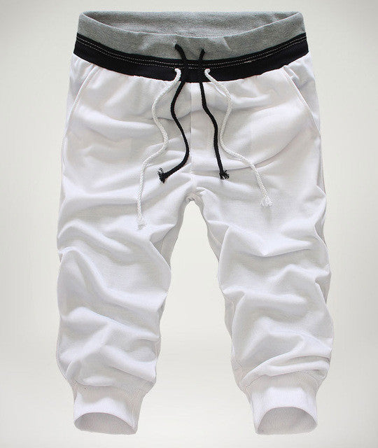 Summer Calf length Cropped Pants/ Drawstring Joggers/ Baggy Streetwear for Men