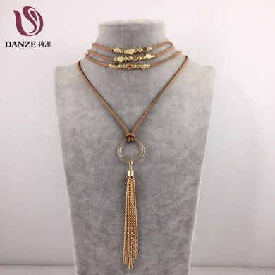 Bohemian Leather Chain Multilayer Long Necklace Gothic Feather Pendant Tassel Necklace for Women