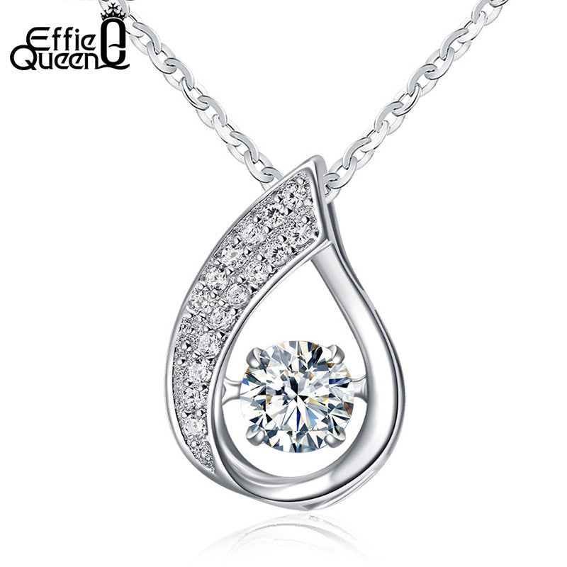 925 Sterling Silver Flickering Zircon Design Necklace for Women