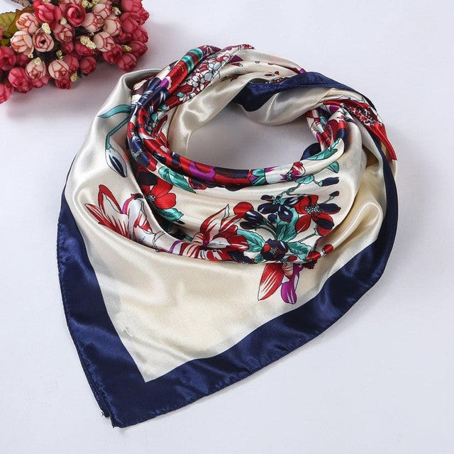 Floral Printed Square Scarf Head Wrap Kerchief Neck Satin Shawl for Women