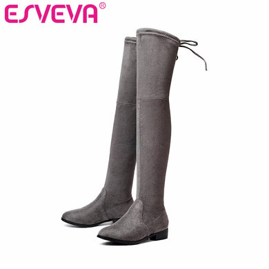 Over The Knee Boots Square Med Heel Lace Up Stretch Fabric Fashion Boots