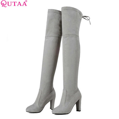 Over The Knee Boots PU leather Square High Heel Women Shoes