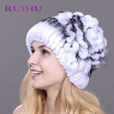 RUIHU Women Rex Rabbit + Fox Fur Hat Female Genuine Winter Women Fur Caps Lady Headgear Beanies For Russia skullies RHM710