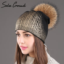 Women fashion bronzing silver knitted hats winter warm double layer caps