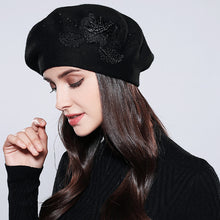 MOSNOW Bonnet Femme Women Beret Cotton Wool Brand New Knitted Fashion Flower Autumn 2017  Winter Hats For Women Caps  #MZ741