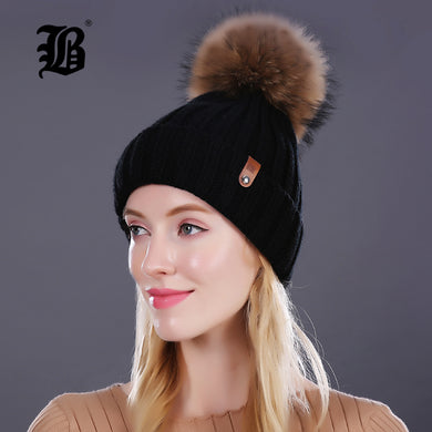 Pom Poms Knitted Hat Ball Beanies Winter Hat For Women