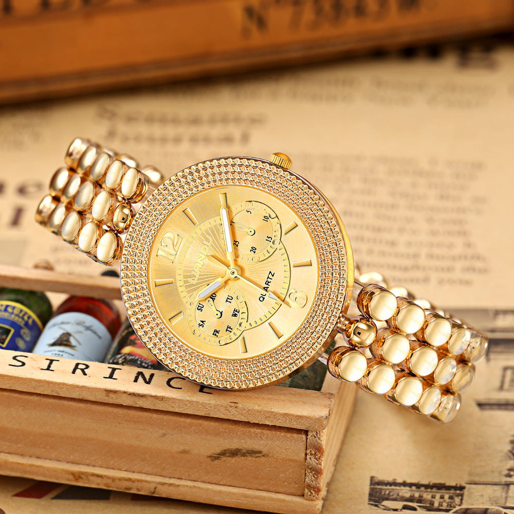Women Crystal Stainless Steel Analog Quartz Wrist Watch