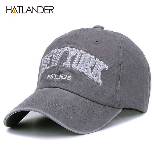 Sand Washed Cotton Baseball Cap Vintage New York Embroidery Letter Men Women Hat
