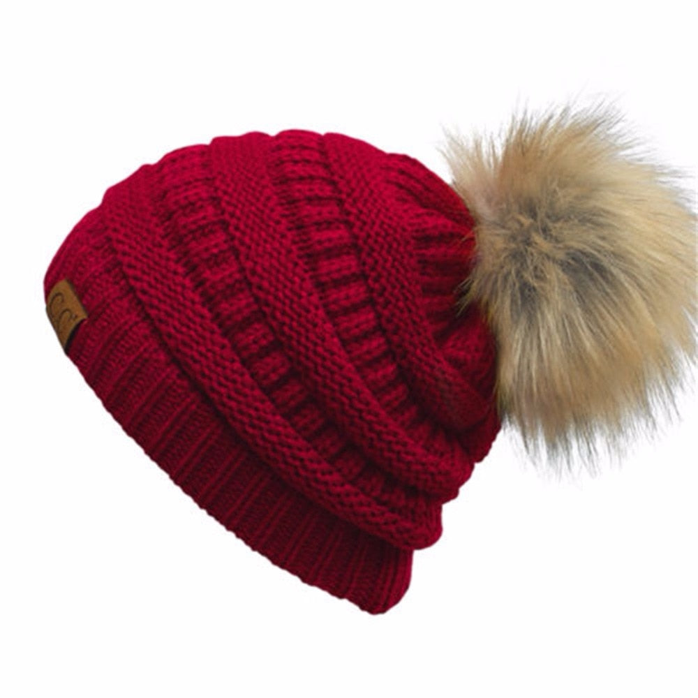 2017 Hot Double Layer Fur Ball Cap Pom Poms Winter Hat for Women Girls Hat Knitted Cap Cap Thick Cap Knitted hat