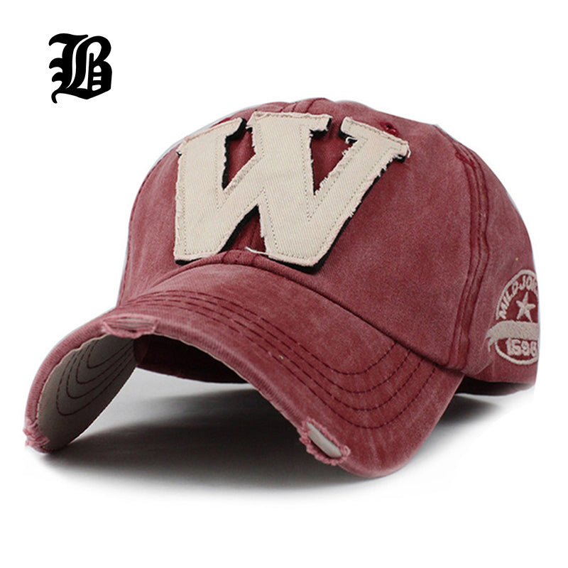 ...  FLB  Cotton Embroidery Letter W Baseball Cap Snapback Caps Bone  casquette Hat Distressed Wearing ... bd94b9b3862