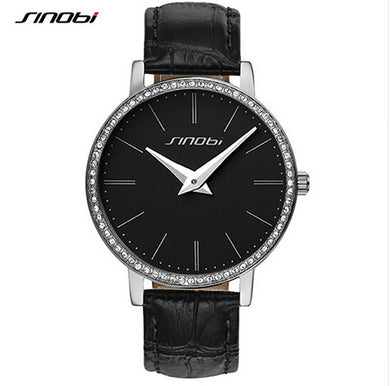Luxury diamond elegant leather fashion ladies watch