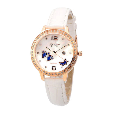 Butterfly luxury diamond ladies leather strap quartz watch