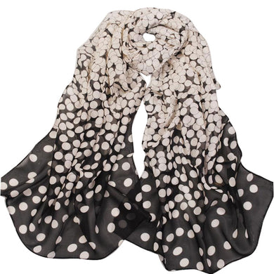 Women Lady Polka Chiffon Warm Hem Scarf Headscarf Shawl
