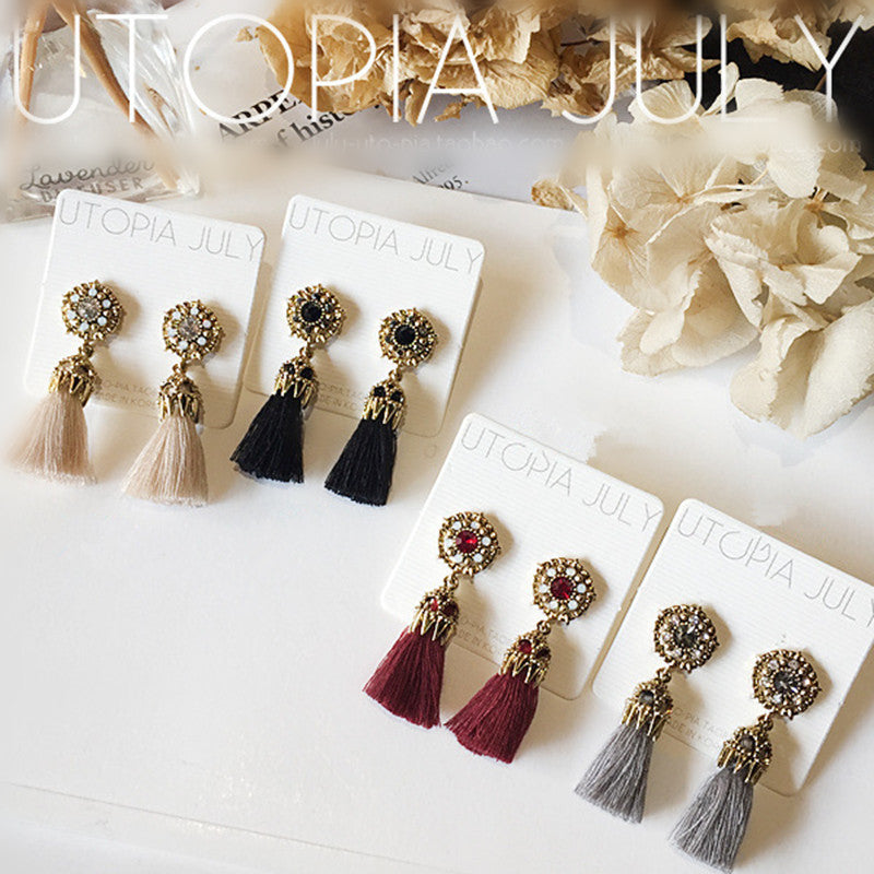 Rhinestone Long Tassel Dangle Earrings for Women