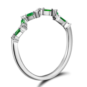Happiness Stack Ring - Diamonds and Emeralds