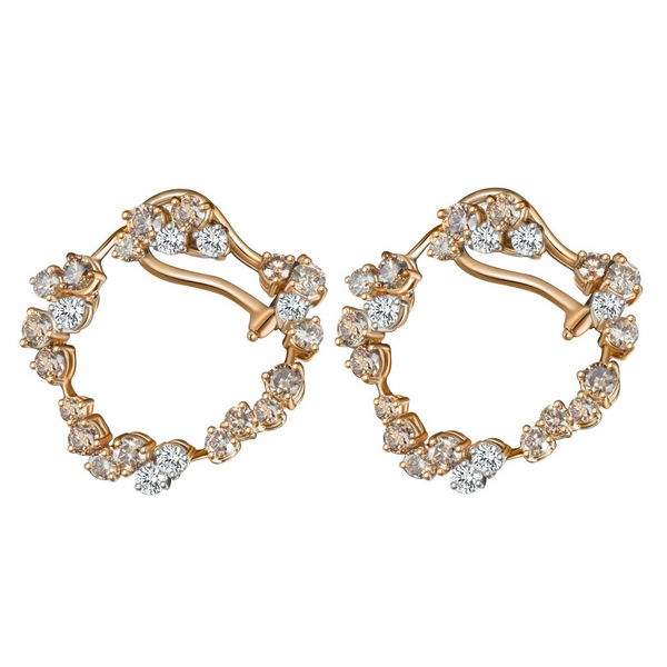 Hoop Earrings with Champagne Diamonds