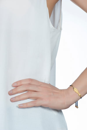 Hestia + Lucky Iron Fish Gold Silk Bracelet