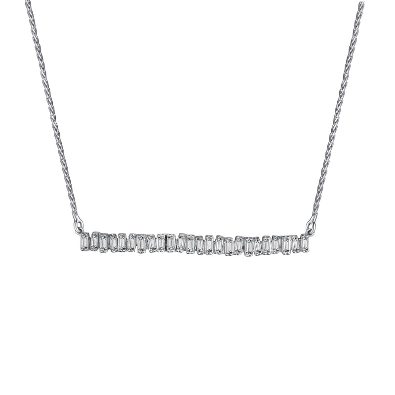 Love Diamond Long Bar Necklace - White Gold