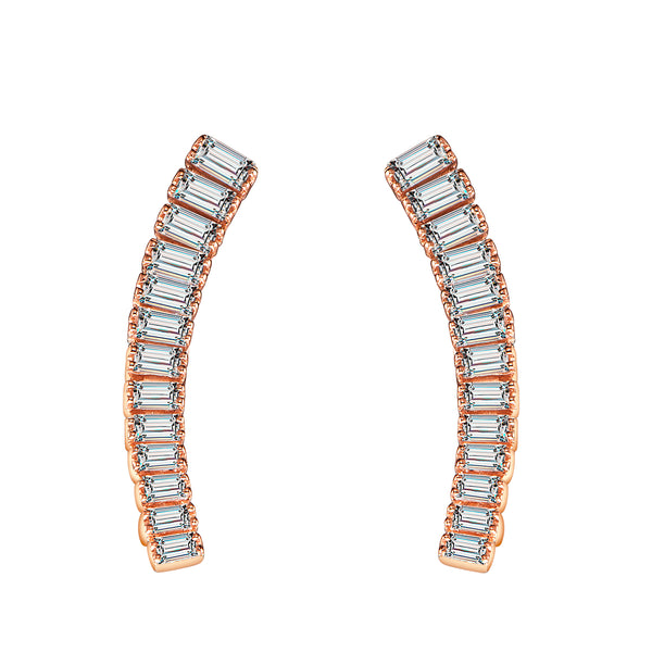 Beauty Diamond Bar Earrings - Rose Gold