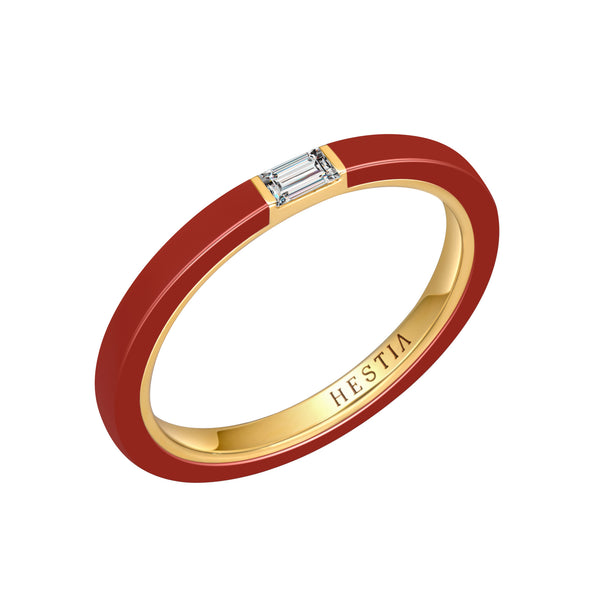 Cara Red Ceramic Baguette Diamond Ring