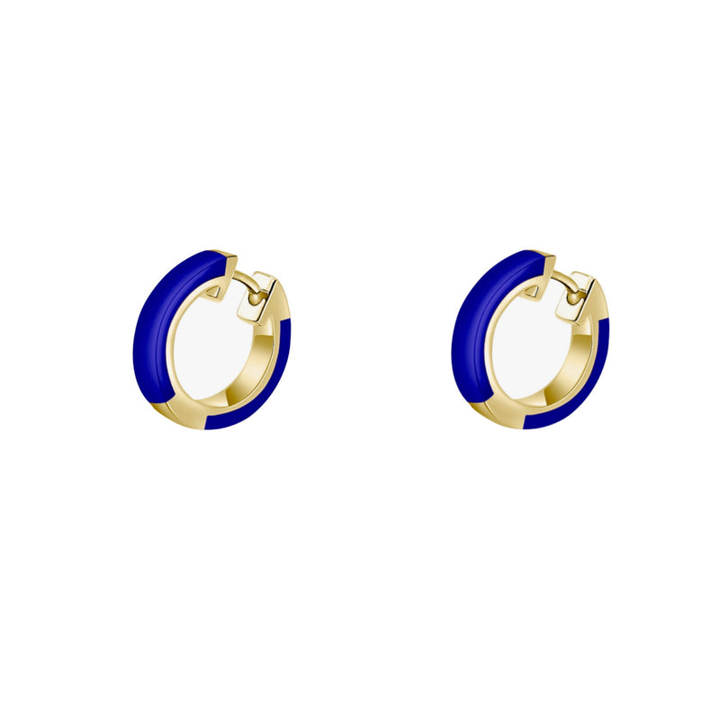 Zoe Huggies Navy Blue Ceramic Hoop Earrings