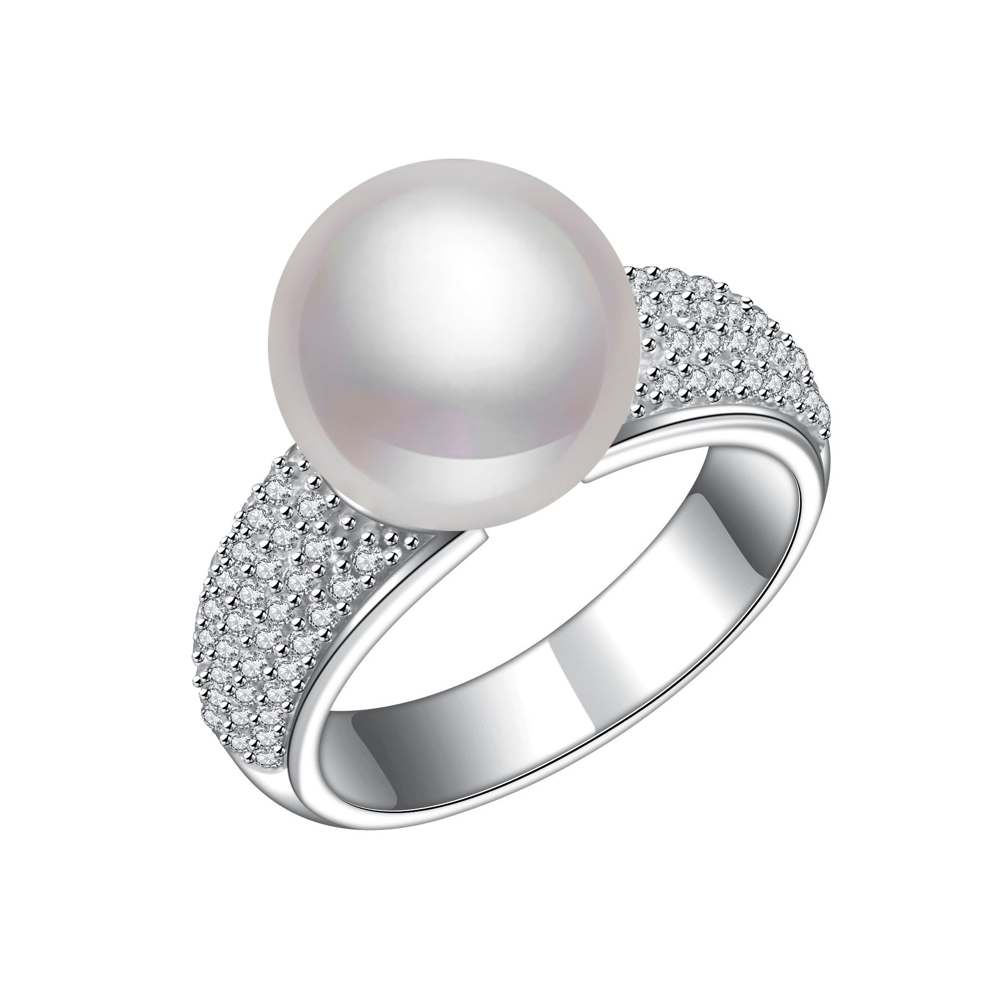 cluster button engagement ring jewelry silver cz cultured bling pearl freshwater sterling s cute real yly rings