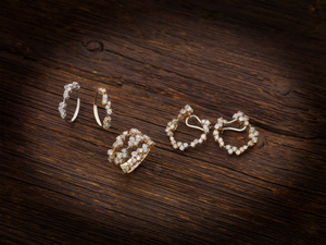 Corolla Hoop Earrings - White and Champagne Diamonds