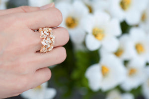 Corolla Gold Quadruplet Ring - White and Champagne Diamonds