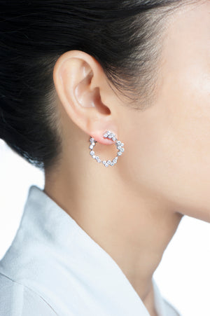 Corolla Hoop Earrings - White Diamonds