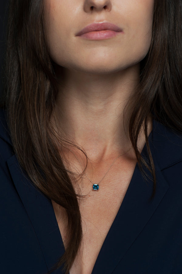 Audrey London Blue Topaz Pendant Necklace