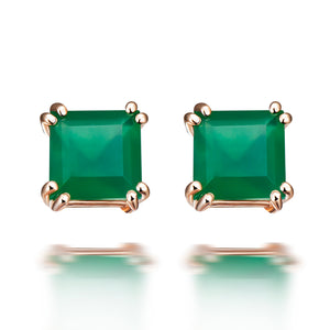 Hestia Green Agate Stud Earrings