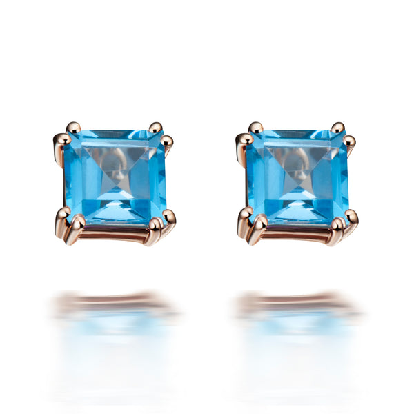 Hestia Swiss Blue Topaz Stud Earrings