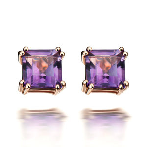 Hestia Purple Amethyst Stud Earrings