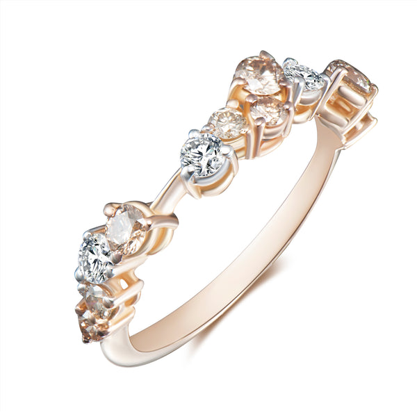 Corolla One Row Ring - White + Champagne Diamonds
