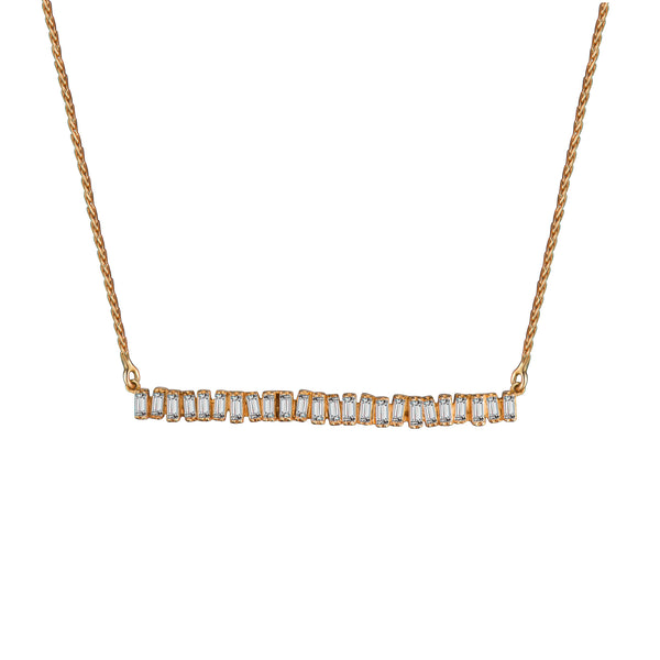 Love Diamond Long Bar Necklace - Rose Gold