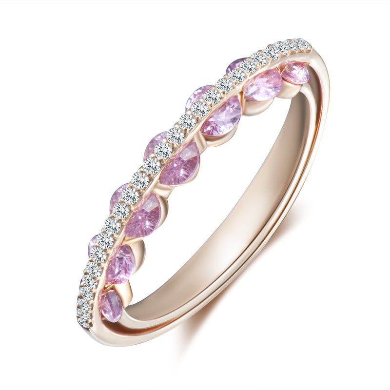 Light Sapphire Ring - Diamonds and Pink Sapphires